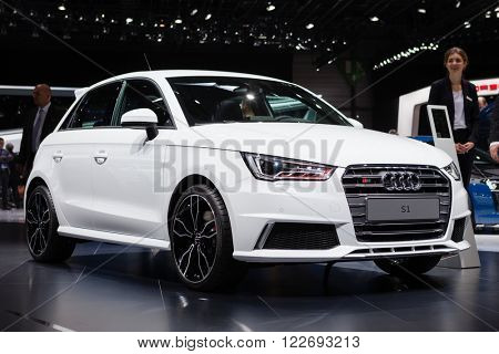 GENEVA, SWITZERLAND - MARCH 1: Geneva Motor Show on March 1, 2016 in Geneva, Audi S1, front view