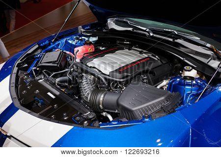 GENEVA, SWITZERLAND - MARCH 1: Geneva Motor Show on March 1, 2016 in Geneva, Chevrolet Camaro, engine view