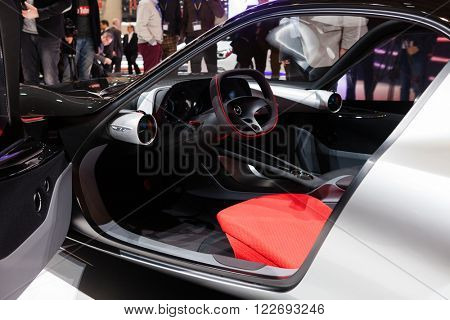 GENEVA, SWITZERLAND - MARCH 1: Geneva Motor Show on March 1, 2016 in Geneva, Opel GT Concept, front-side view