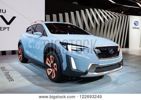 GENEVA, SWITZERLAND - MARCH 1: Geneva Motor Show on March 1, 2016 in Geneva, Subaru XV concept, front-side view