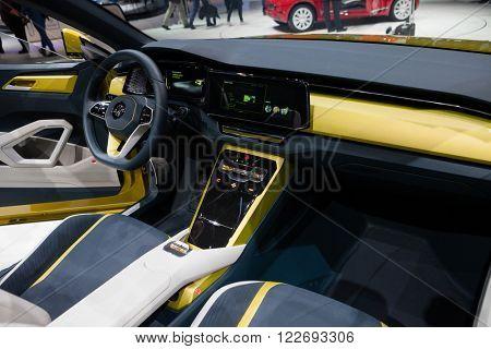 GENEVA, SWITZERLAND - MARCH 1: Geneva Motor Show on March 1, 2016 in Geneva, Volkswagen T-Cross Breeze, interior view