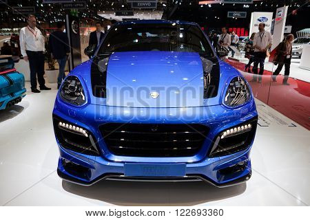 GENEVA, SWITZERLAND - MARCH 1: Geneva Motor Show on March 1, 2016 in Geneva, TechArt Magnum based on Porsche Cayenne, front view