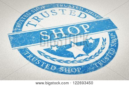 Rubber stamp imprint over paper background with the text trusted shop. Concept image for illustration of trustworthy online shopping.