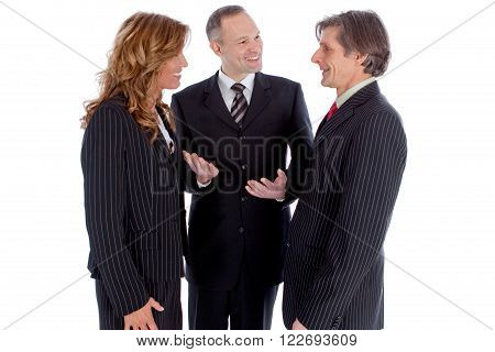 Businessman introduce business people to eachother isolated on white background