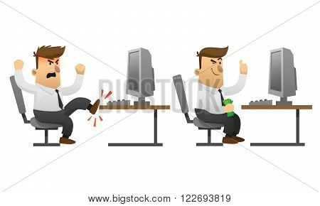 Success and failure businessman cartoon character concept