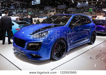 GENEVA, SWITZERLAND - MARCH 1: Geneva Motor Show on March 1, 2016 in Geneva, TechArt Magnum based on Porsche Cayenne, side-front view