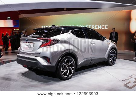 GENEVA, SWITZERLAND - MARCH 1: Geneva Motor Show on March 1, 2016 in Geneva, Toyota CH-R, rear-side view