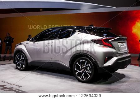 GENEVA, SWITZERLAND - MARCH 1: Geneva Motor Show on March 1, 2016 in Geneva, Toyota CH-R, front-side view