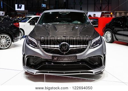 GENEVA, SWITZERLAND - MARCH 1: Geneva Motor Show on March 1, 2016 in Geneva, Hamann Mercedes-Benz GLE Coupe, front view