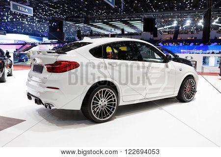 GENEVA, SWITZERLAND - MARCH 1: Geneva Motor Show on March 1, 2016 in Geneva, Hamann BMW X4, rear-side view