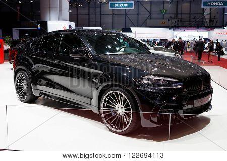 GENEVA, SWITZERLAND - MARCH 1: Geneva Motor Show on March 1, 2016 in Geneva, Hamann BMW X6, side-front view
