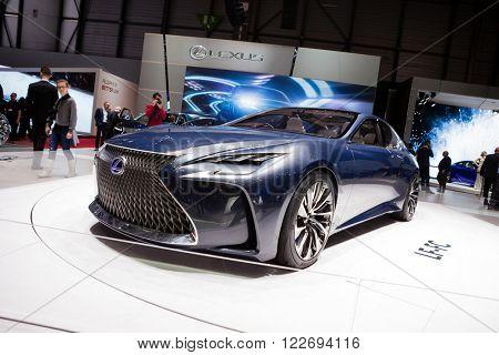 GENEVA, SWITZERLAND - MARCH 1: Geneva Motor Show on March 1, 2016 in Geneva, Lexus LF-FC Concept, front-side view