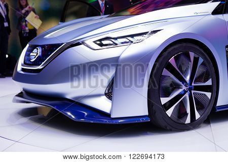 GENEVA, SWITZERLAND - MARCH 1: Geneva Motor Show on March 1, 2016 in Geneva, Nissan IDS Concept, front closeup view