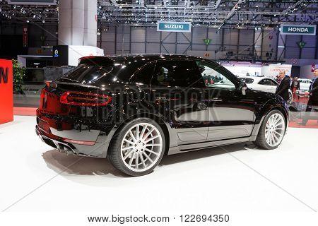 GENEVA, SWITZERLAND - MARCH 1: Geneva Motor Show on March 1, 2016 in Geneva, Hamann Porsche Macan, side-front view