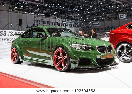 GENEVA, SWITZERLAND - MARCH 1: Geneva Motor Show on March 1, 2016 in Geneva, AC Schnitzer ACL2, front-side view