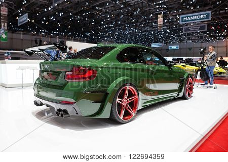 GENEVA, SWITZERLAND - MARCH 1: Geneva Motor Show on March 1, 2016 in Geneva, AC Schnitzer ACL2, rear-side view