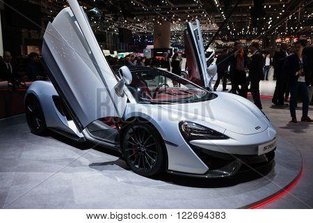 GENEVA, SWITZERLAND - MARCH 1: Geneva Motor Show on March 1, 2016 in Geneva, McLaren 570GT, front-side view