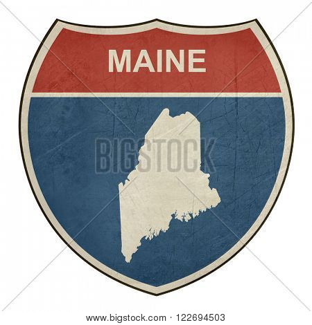 Maine American interstate highway road shield isolated on a white background.