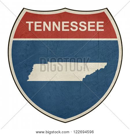 Grunge Tennessee American interstate highway road shield isolated on a white background.
