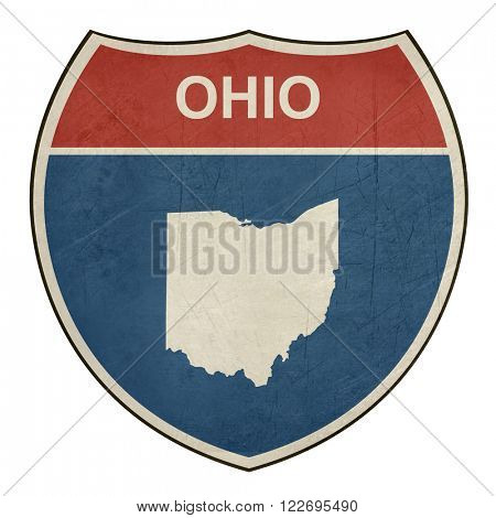 Grunge Ohio American interstate highway road shield isolated on a white background.
