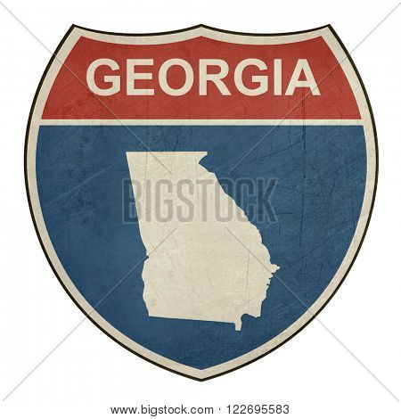 Georgia American interstate highway road shield isolated on a white background.