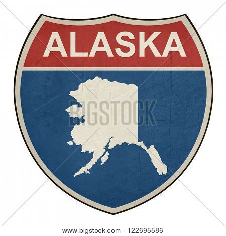 American State of Alaska map interstate highway road shield isolated on a white background.