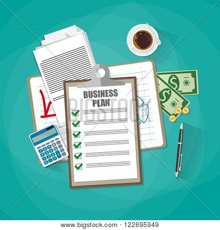 Business plan document papers. clipboard with checklist, money cash, coins, calculator, pen, coffee cup. top view, vector illustration in flat design on green background