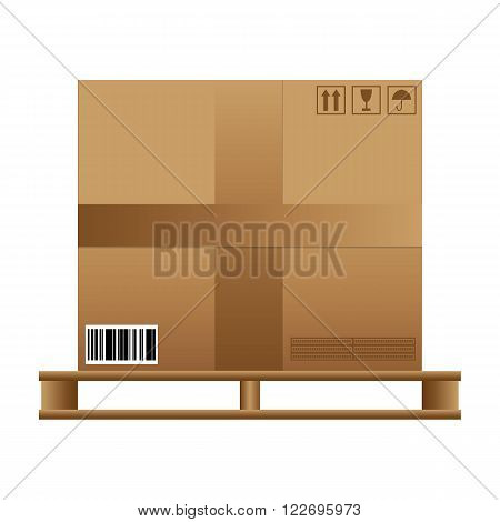 Big brown closed carton delivery box with fragile signs and barcode on wooden pallet. vector illustration isolated on white background