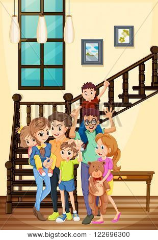 Family members living in the house illustration