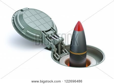 Nuclear missile in underground silo on white background - 3D illustration