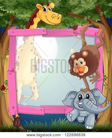 Frame design with wild animals at night illustration