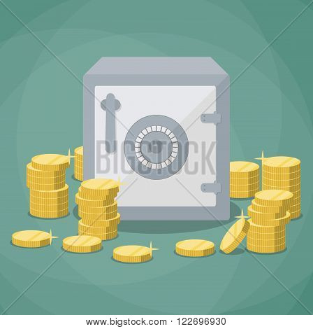 closed small safe box and stacks of gold coins. vector illustration in flat design on green background