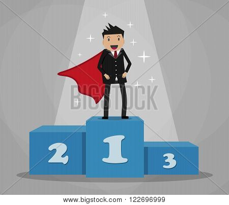 Cartoon super businessman winner in black suit and red cape standing on first place on a podium. vector illustration in flat design on grey background