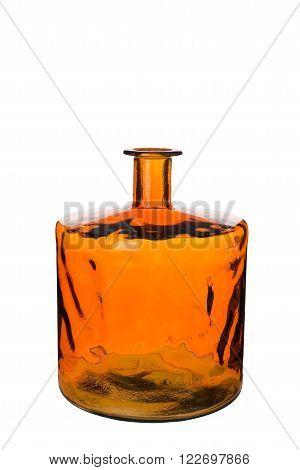 Short Empty Orange Cylindrical Necked Bottle Vase