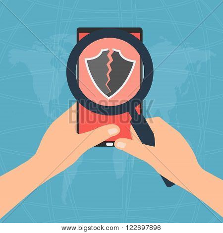 Hand hold magnifying glass find issue of antivirus program broken showing on tablet mobile phone display screen. Vector illustration flat design technology tablet mobile phone security concept.