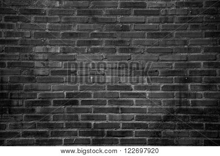 black grunge brick wall texture or pattern for background and material in urban concept
