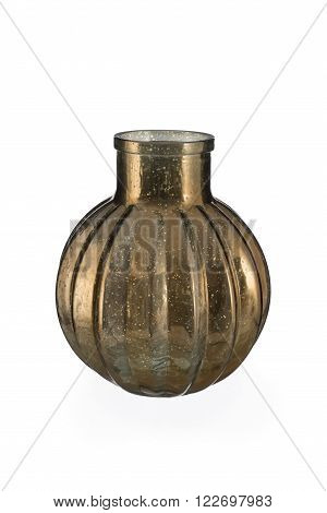 Ball-shaped Gold Mercury Glass Bottle Vase