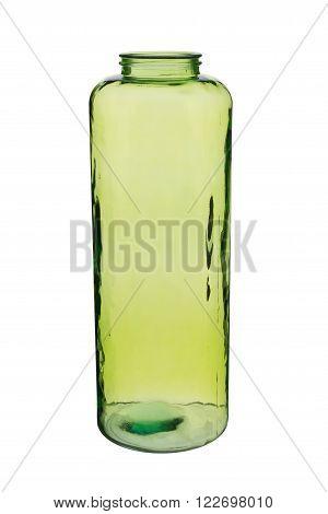 Green Cylindrical Crystal Vase