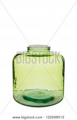 Short Green Cylindrical Crystal Vase