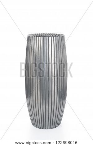 Cut-out Of Short Gray Vase With Engraved Vertical Lines