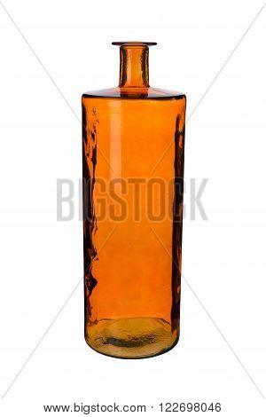 Empty Orange Cylindrical Bottle Vase