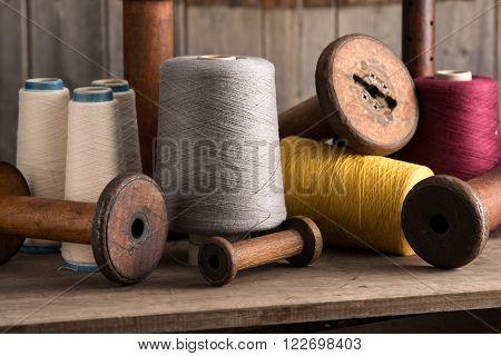 Group Of Spools Of Thread And Empty Spools