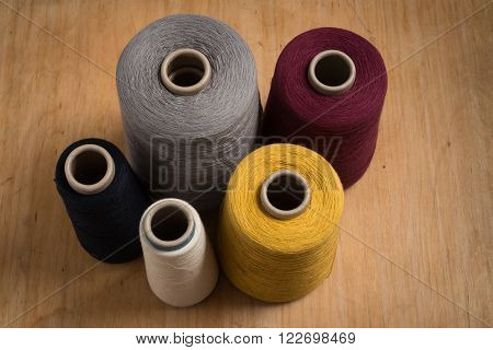 Standing Spools Of Thread Shot At High Angle