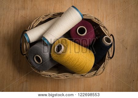 Spools Of Thread In Wicker Basket