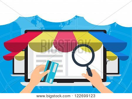 Human hand hold a magnifying glass find oline shop and hold a credit card for paying online system. Vector illustration E-Commerce omnichannel online shopping concept.