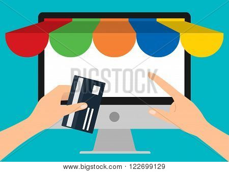 Hand holding credit card for paying computer PC with copy space. Flat design E-Commerce omnichannel online shopping concept.