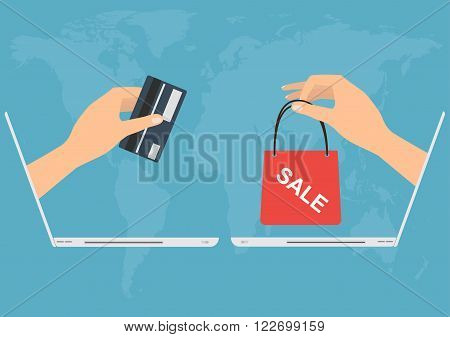 Hand from laptop paying with credit card for shopping online.Vector illustration Omnichannel online marketing concept.