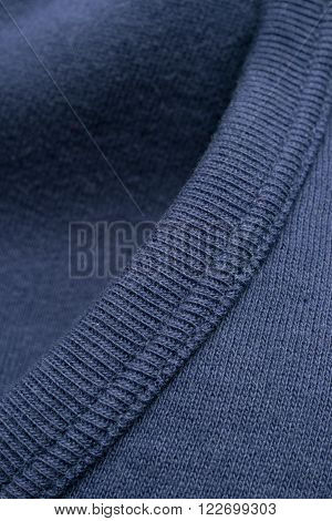 Closeup Of Blue Shirt Collar