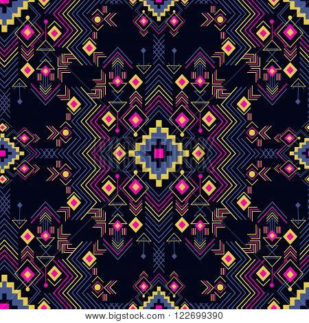 Vector seamless festive tribal pattern. Boho style ornament. Repetition background for textiles , wrapping paper or wallpapers. Isolated vector illustration.