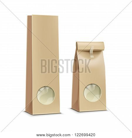Tea coffee paper packaging package pack bag with transparent window isolated vector illustration